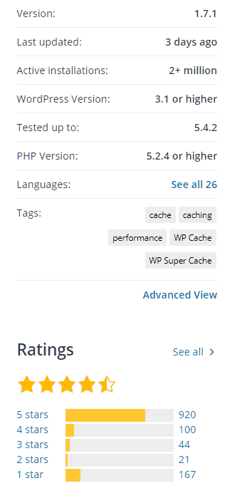 WP Super Cache - installations & rating