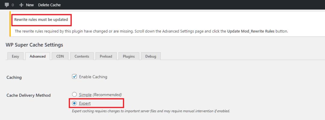 update mod rewrite rules warning
