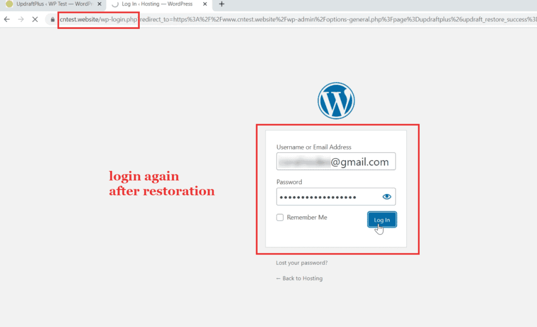 login again after restoration