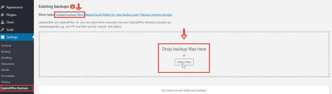 upload backup files to updraftplus