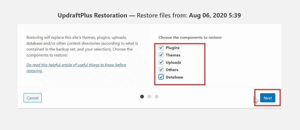 select restore components