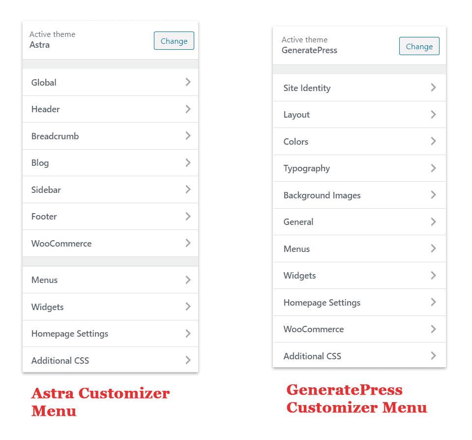 astra vs generatepress customizer menu