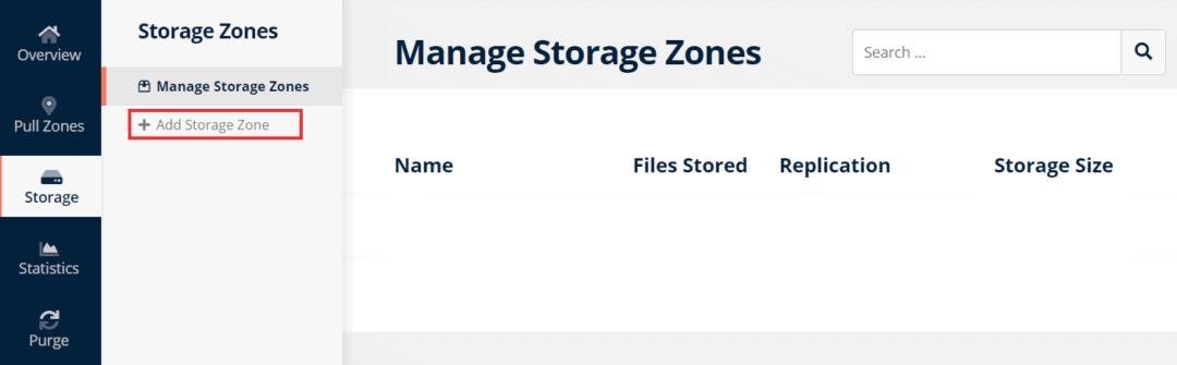 add new storage zone