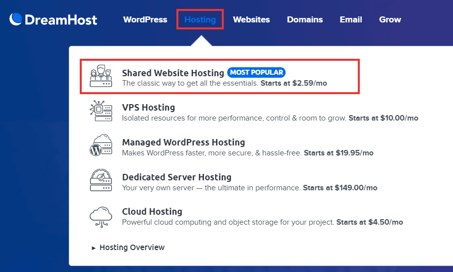 dreamhost shared hosting plans