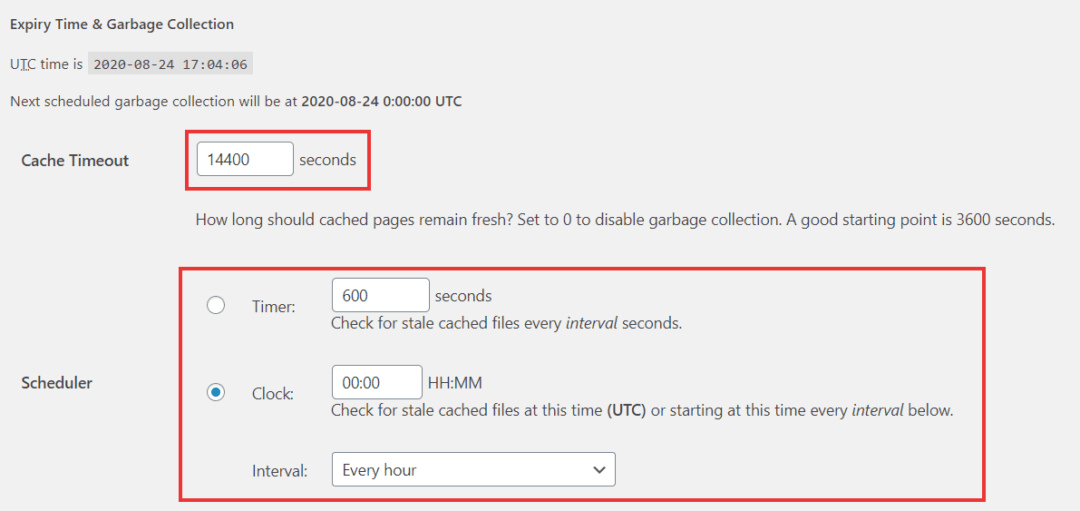 cache timeout and garbage collection intervals in wp super cache
