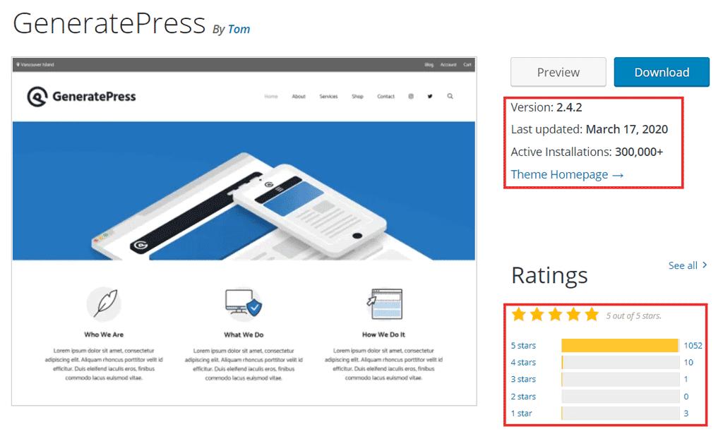 generatepress rating and downloads