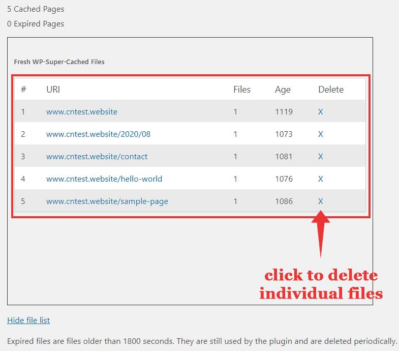 list cache files