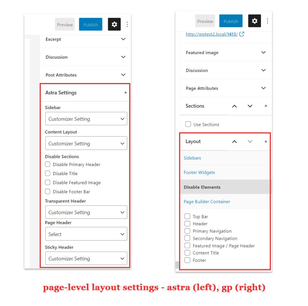 page-level layout settings - astra vs generatepress