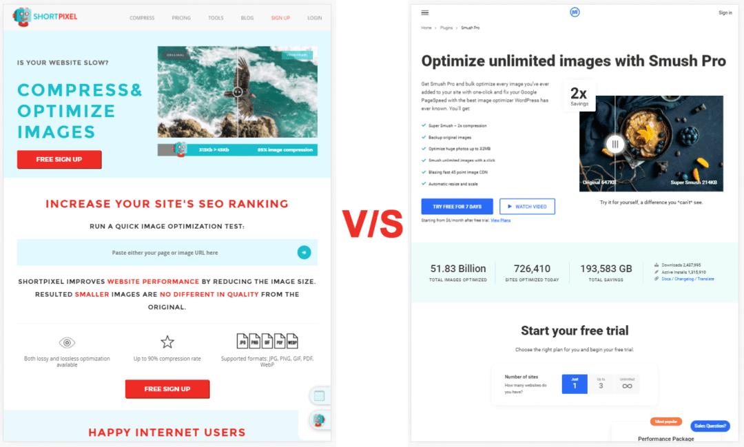 shortpixel vs wp smush - homeapage screenshots