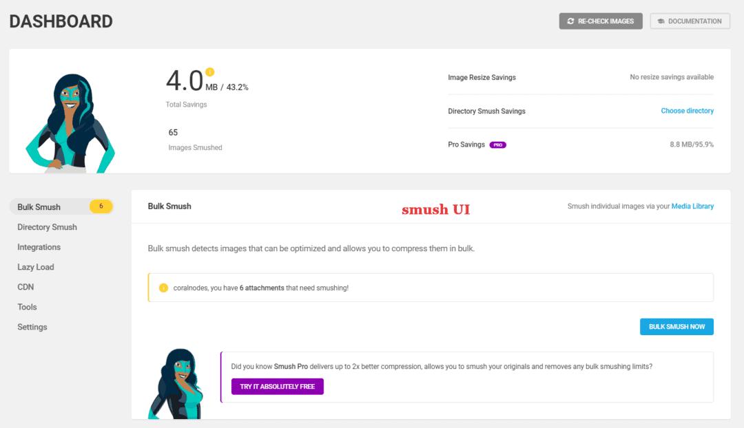 smush user interface