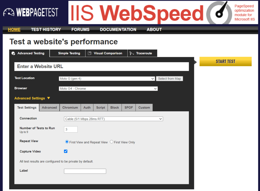 webpagetest home page
