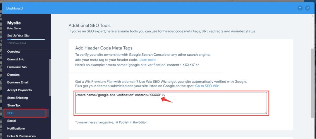 enter google search console verification meta tag