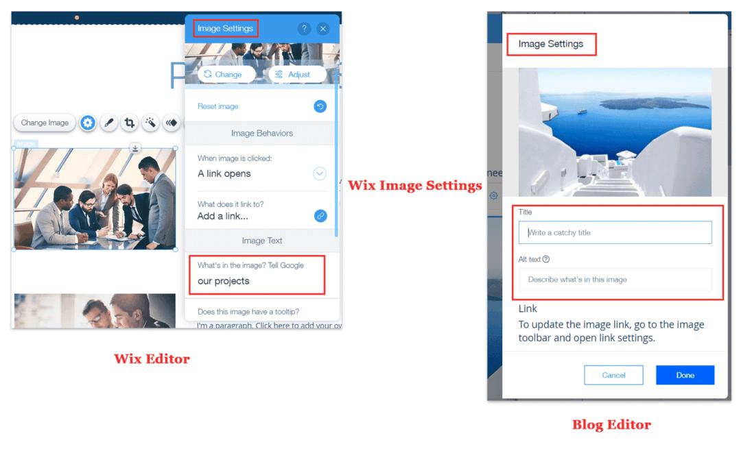 wix image seo settings