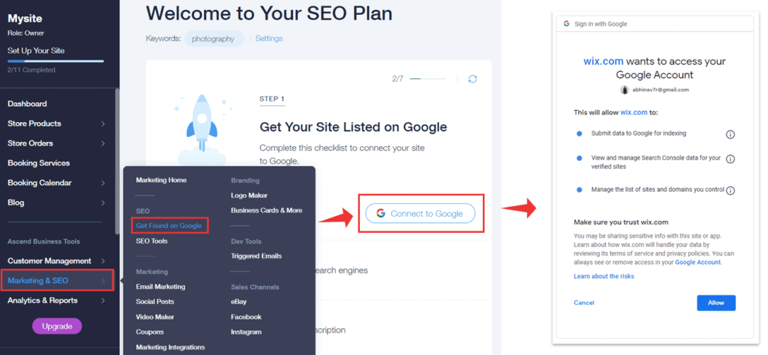 wix connect to google search console