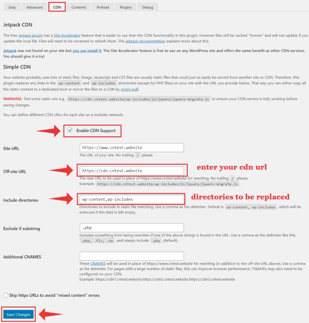 integrate cdn wp super cache