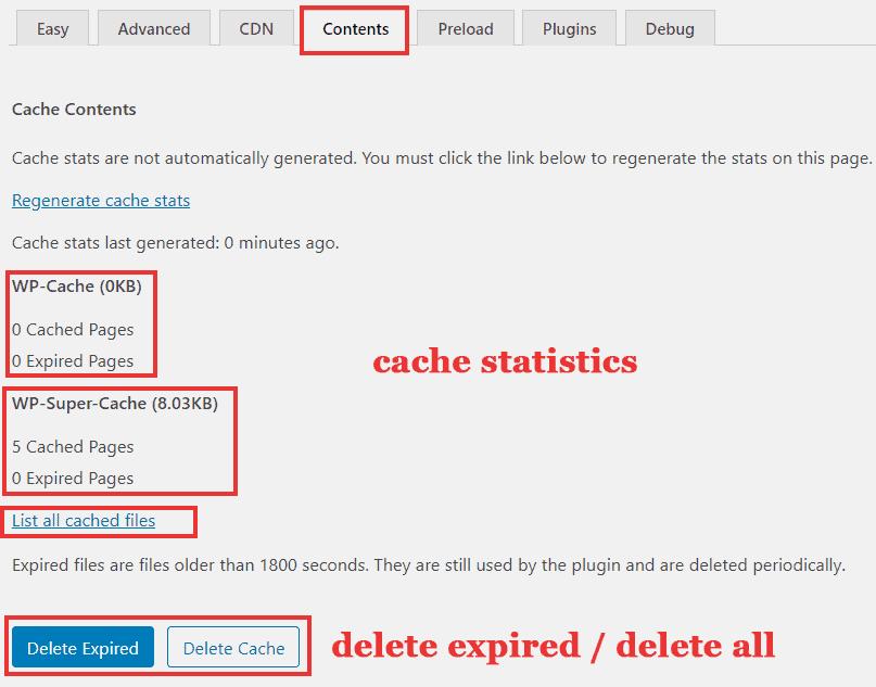 wp super cache contents tab