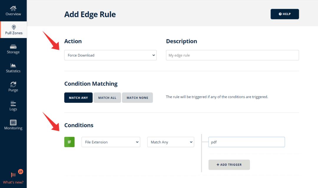 setting edge rules in bunnycdn