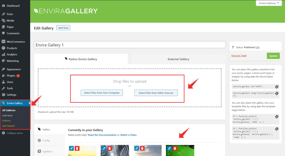 create a gallery using Envira