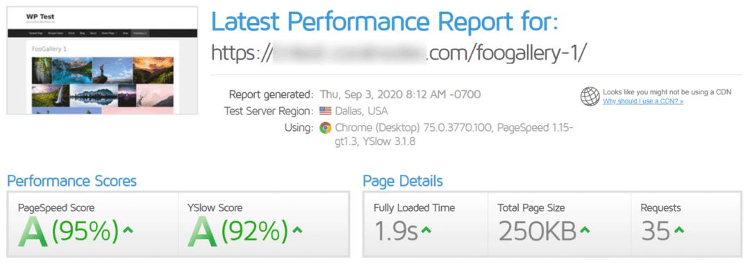 foogallery performance - gtmetrix report