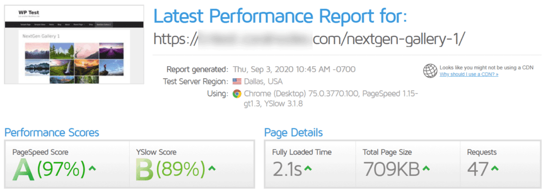 nextgen gallery gtmetrix performance report