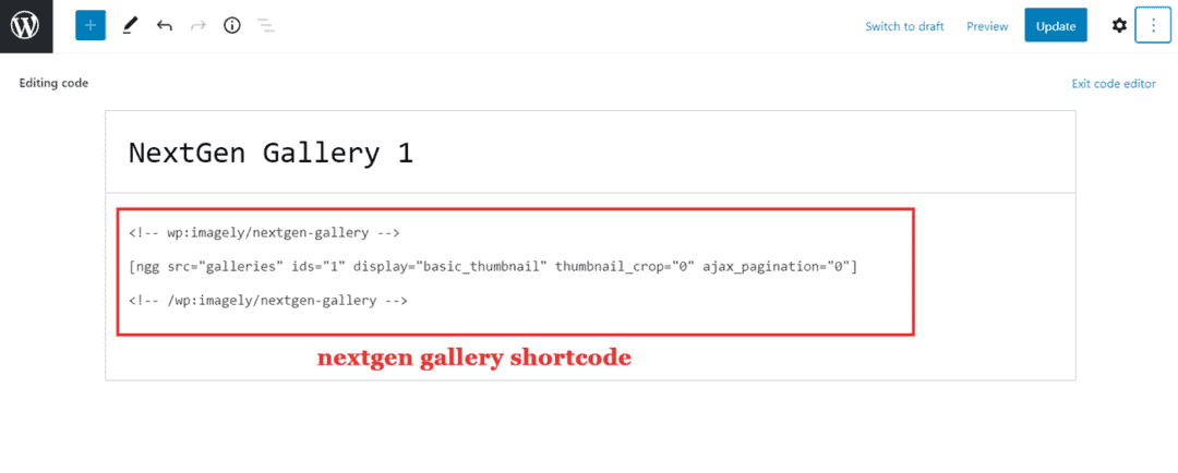 nextgen gallery shortcode