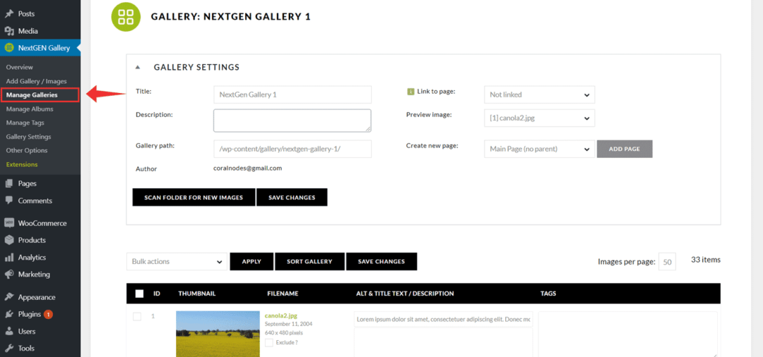 nextgen manage galleries