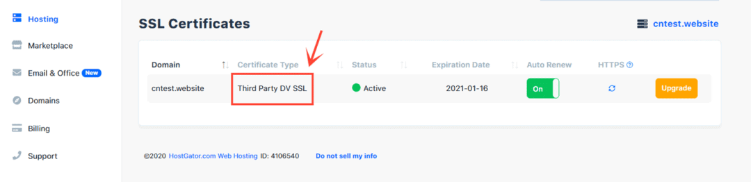 third-party ssl certificate installed