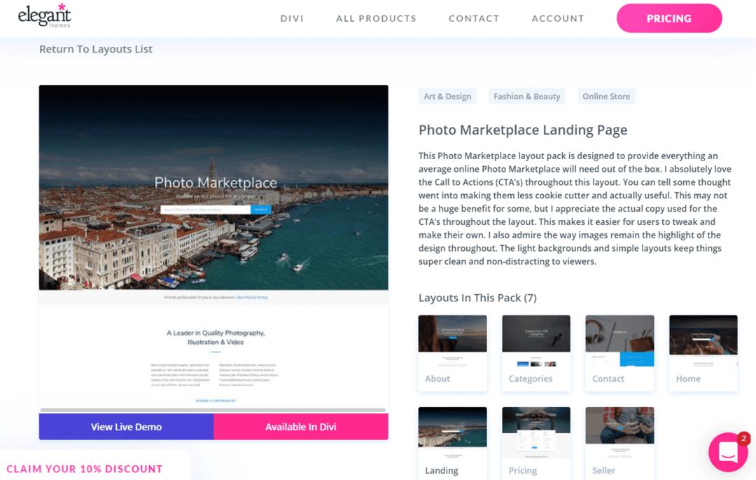 Divi Photo Marketplace layout pack