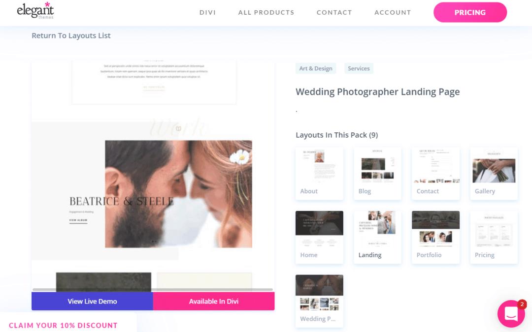 divi wedding photographer layout pack