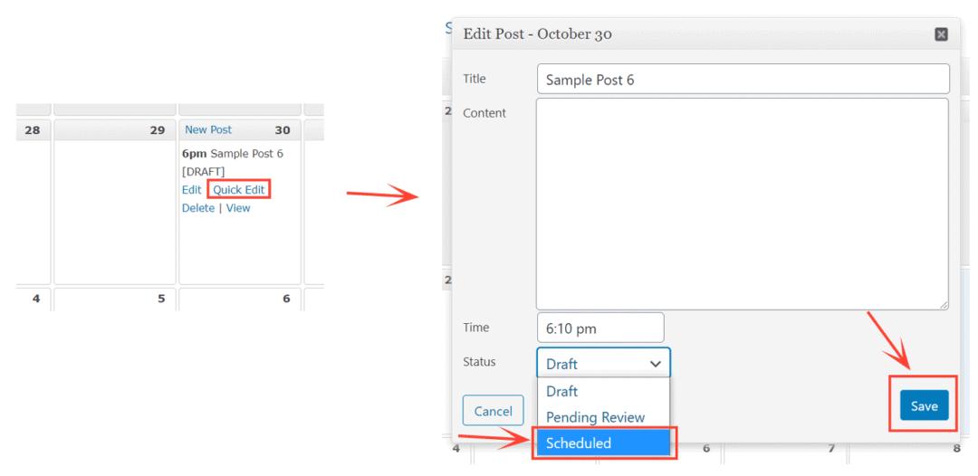 change post status in editorial calendar plugin