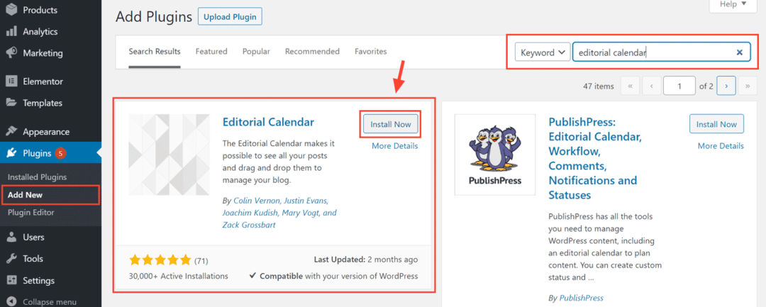 install editorial calendar plugin