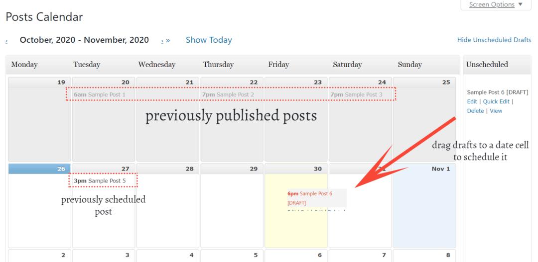 schedule a post using editorial calendar plugin
