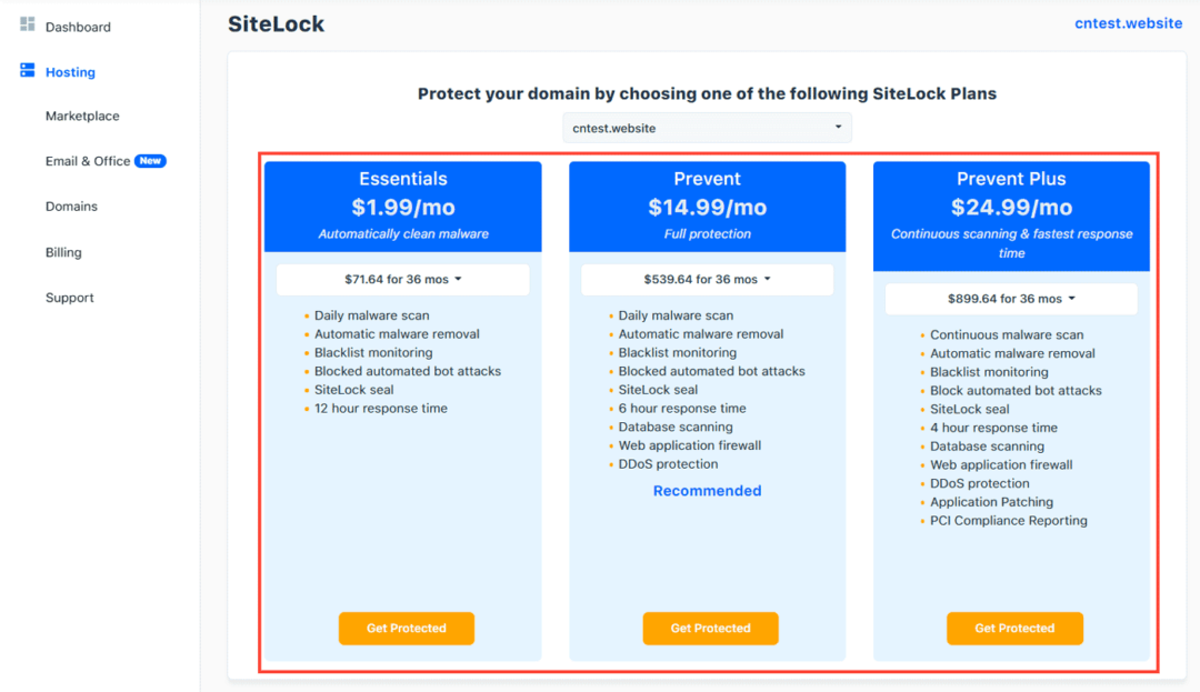 sitelock hostgator add-on