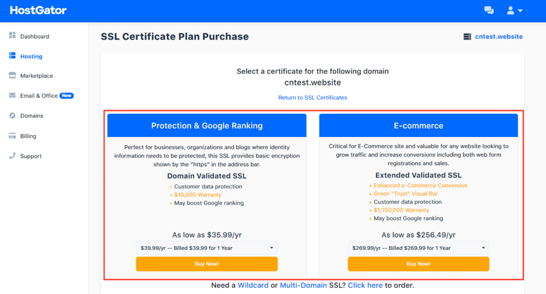 ssl certificate plans on hostgator