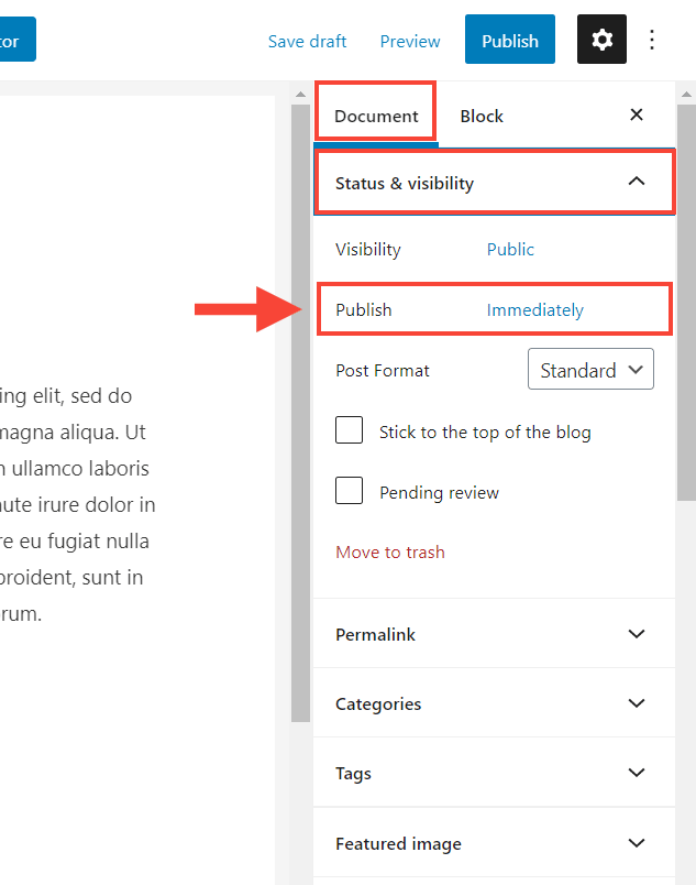status and visibility setting in wordpress