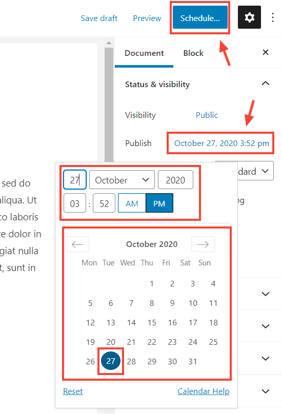 select a date to schedule wordpress posts