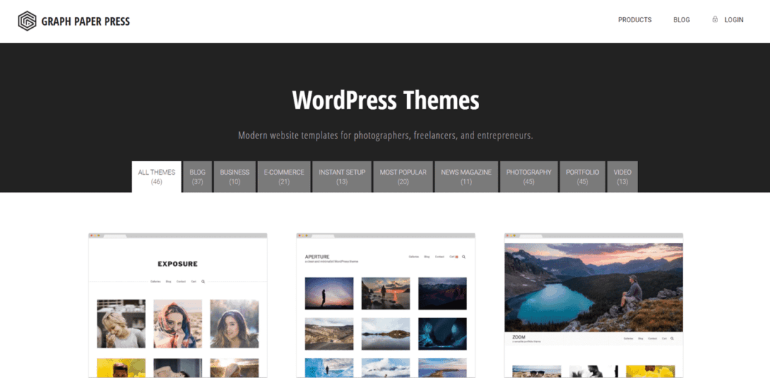 graph paper press photography themes for wordpress