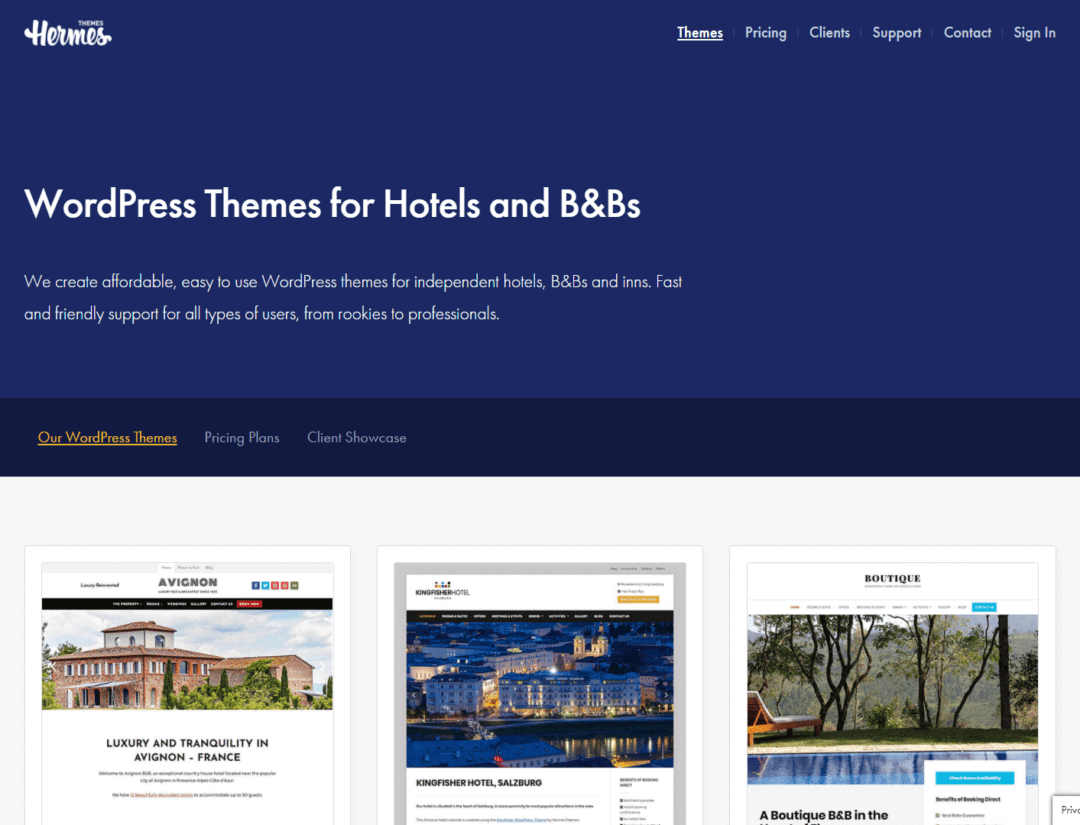 hermes themes - premium hotel themes for wordpress