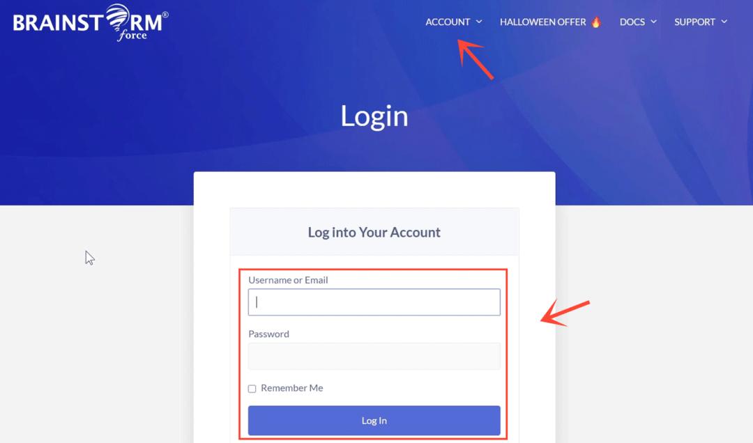 login to brainstormforce account