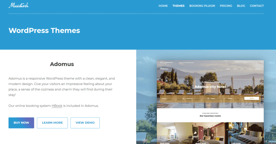 maestrel wordpress themes for hotels