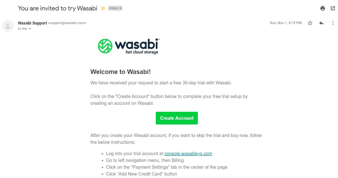 wasabi invitation email