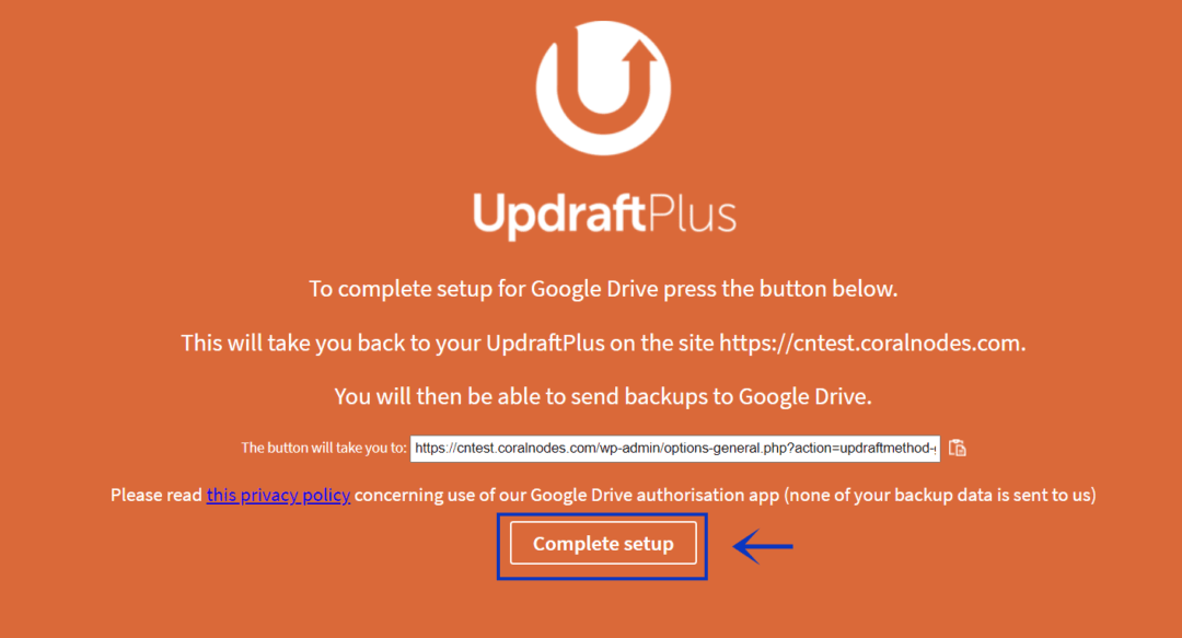 complete setting up updraftplus