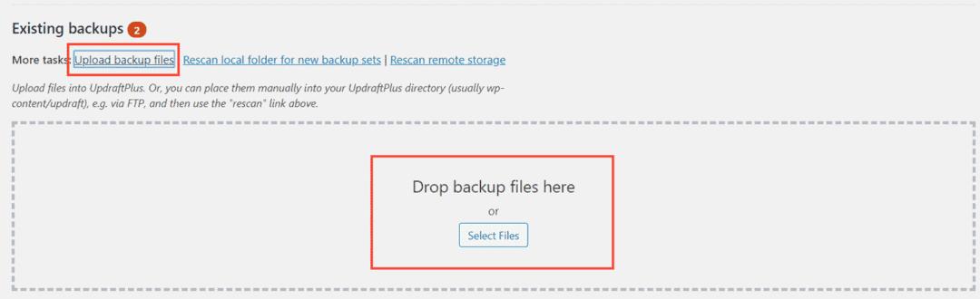 upload backup files