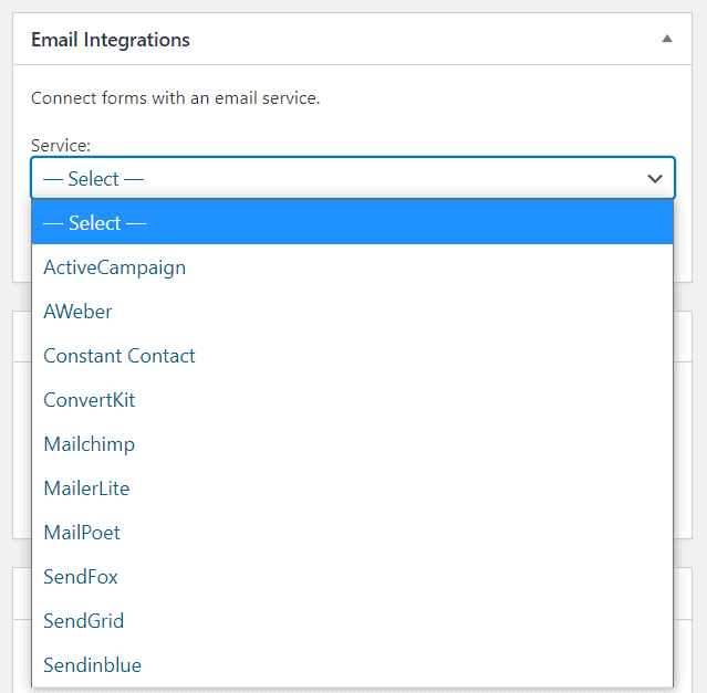 email integrations in happyforms