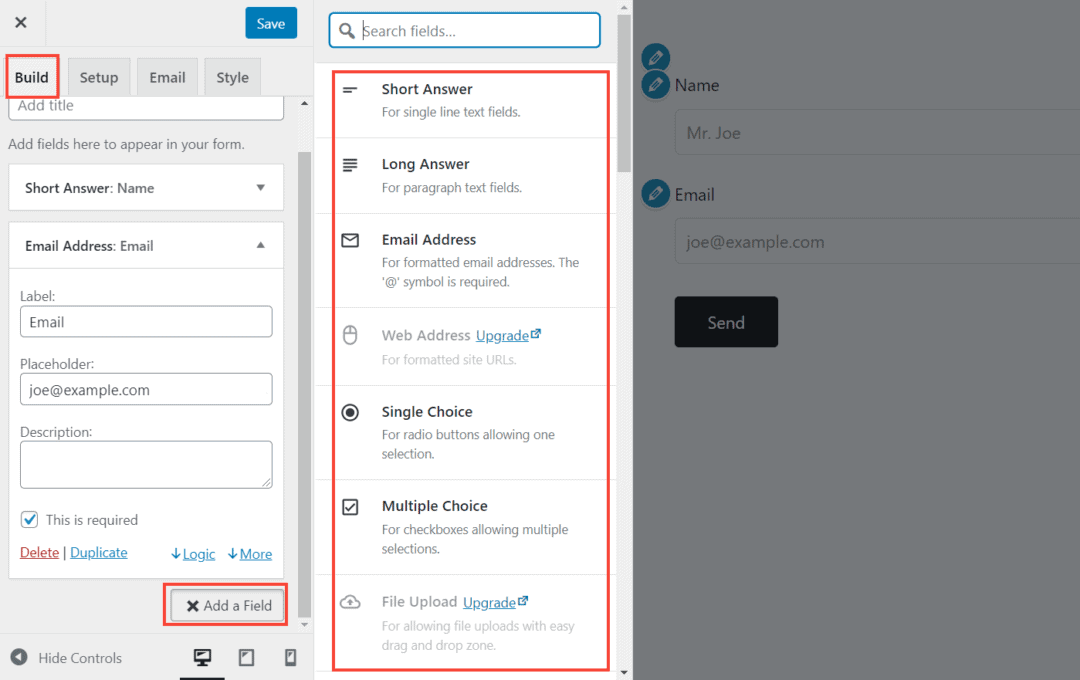 adding fields to a form