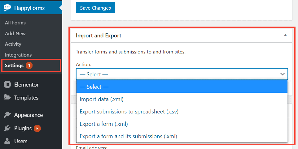 happyforms import and export