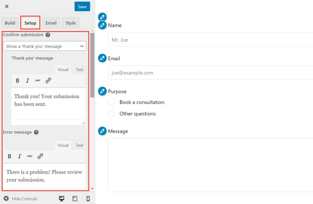 happyforms setup tab