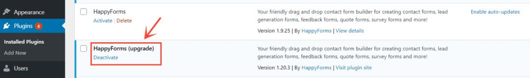 happyforms upgrade plugin installed