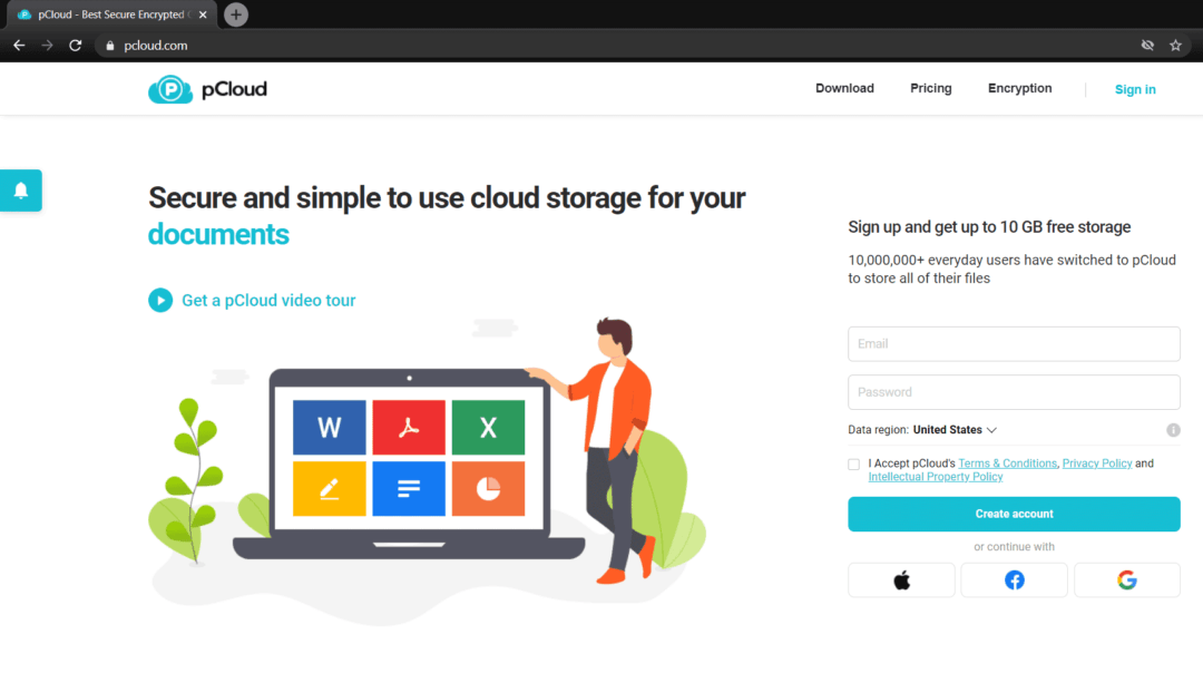 pCloud home page