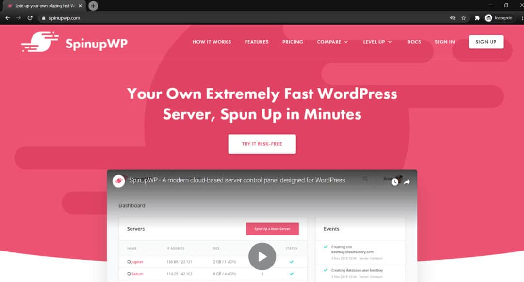 spinupwp wordpress hosting